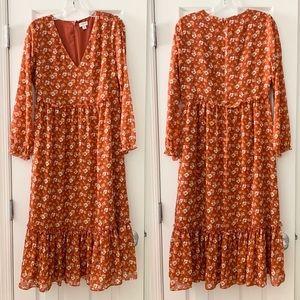 J.Crew rust orange crinkle midi floral dress